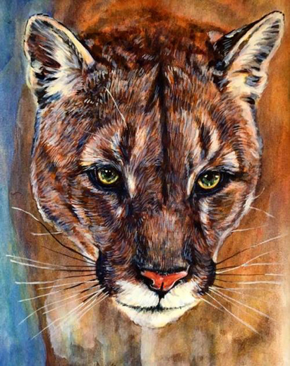 Cougar Egg Tempera Painting Carol Wells