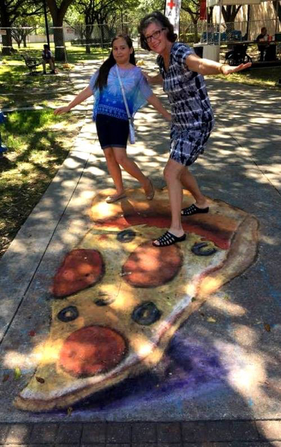 3D Chalk Art Pizza